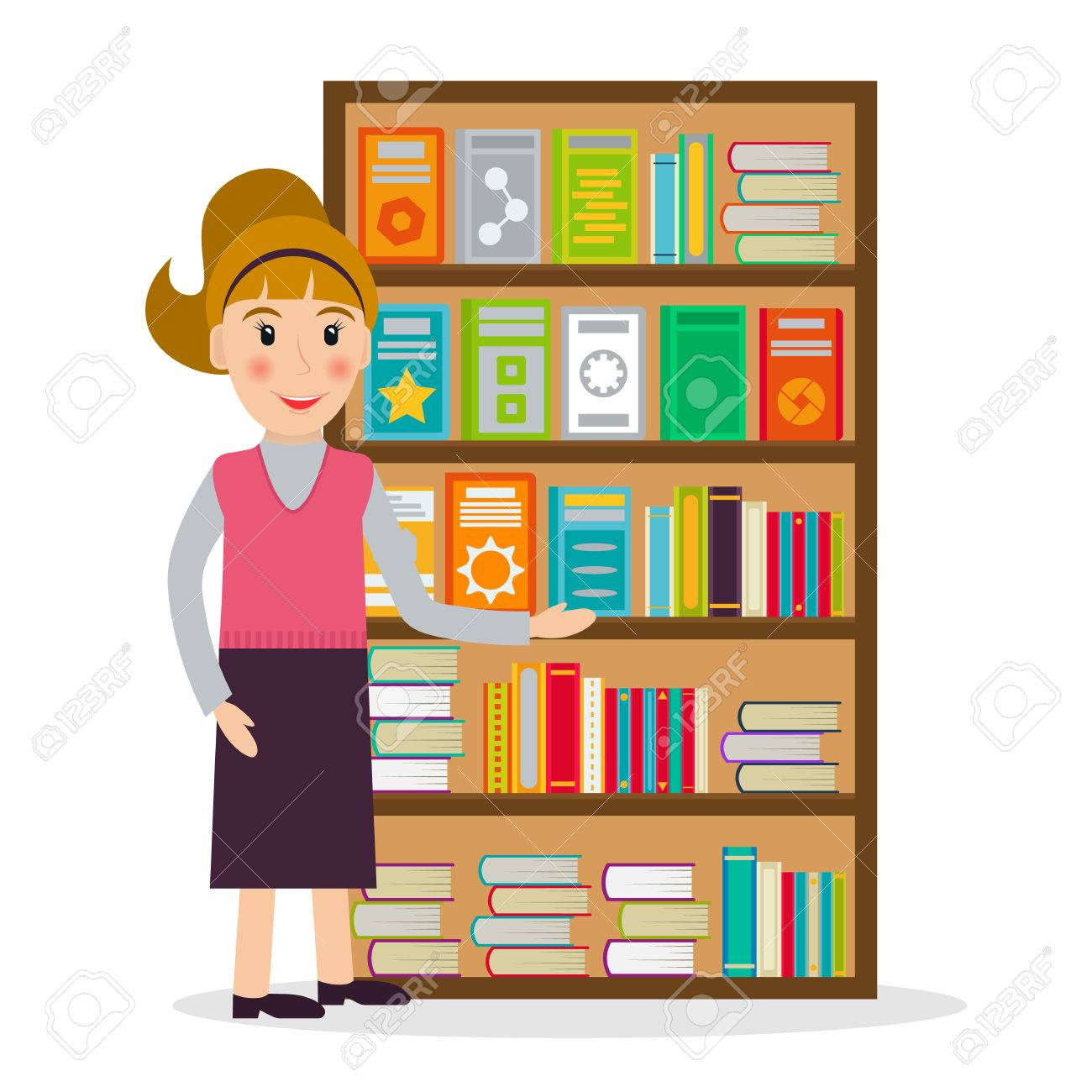 Le Libraire Femme Contre Des Etageres Avec Des Livres Dans Un Style Plat Vector Illustration De Sourire Femme Vendant Des Livres A La Librairie Ou