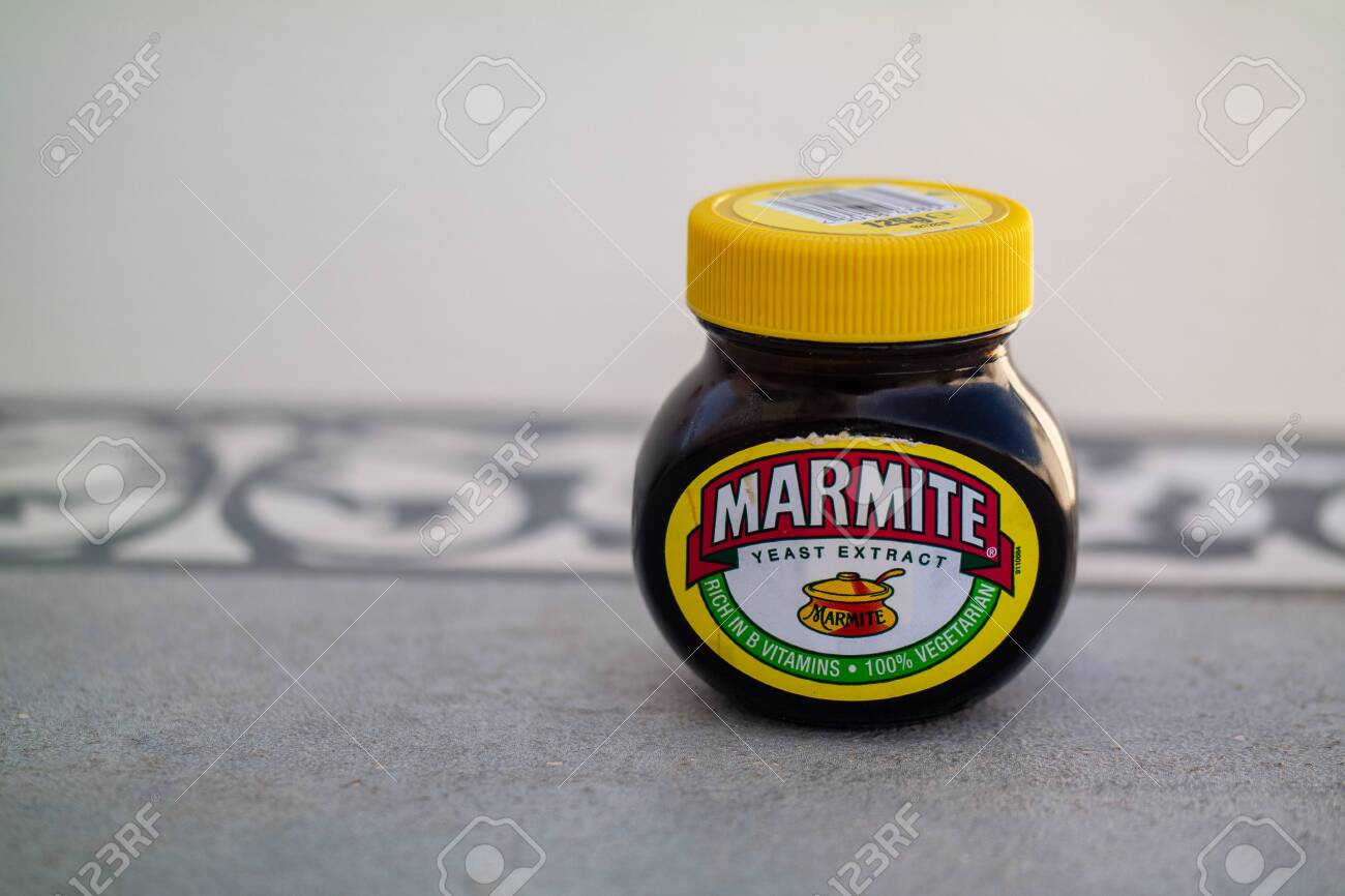 Torrevieja, Alicante, Spain - March 25 2009 : Jar of Marmite on table with copy space - 120677853