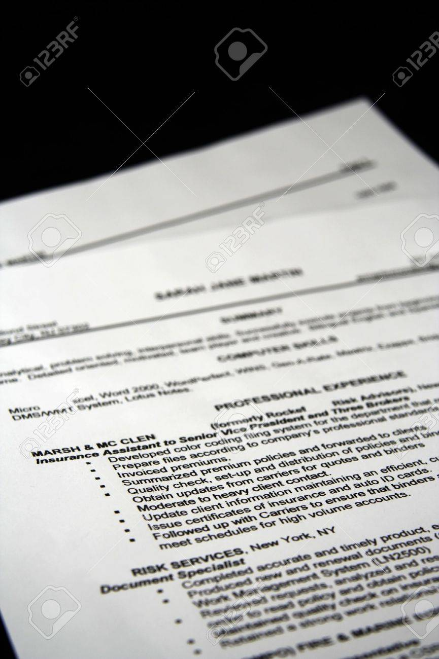 A fictitious resume with a black background Stock Photo - 1214562