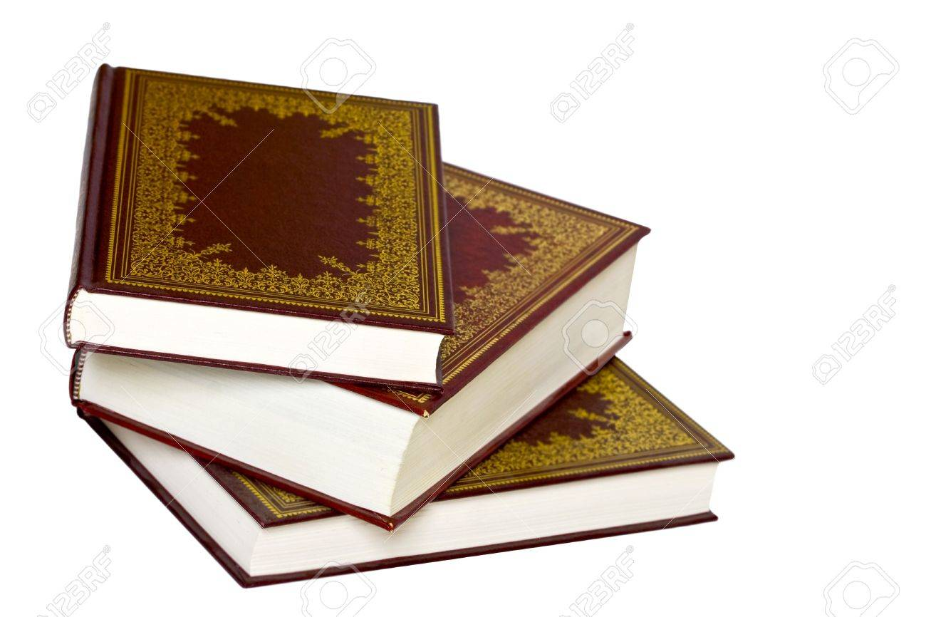 Dekorative Bücher alte ledereinband dekorative bücher isoliert auf einem weißen