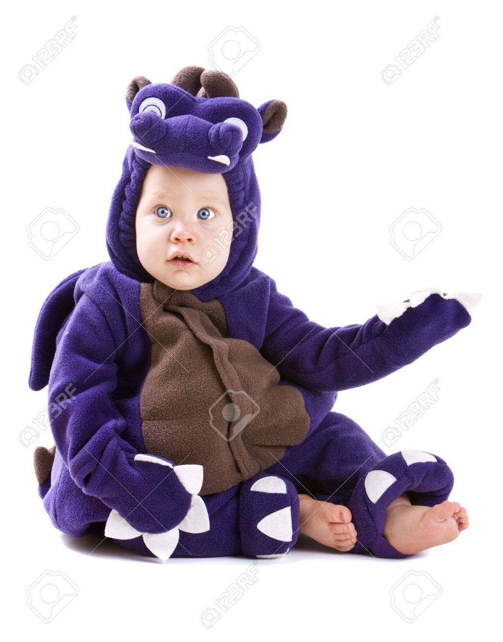 Young baby boy dressed in halloween party costume isolated on white background Stock Photo - 3671458