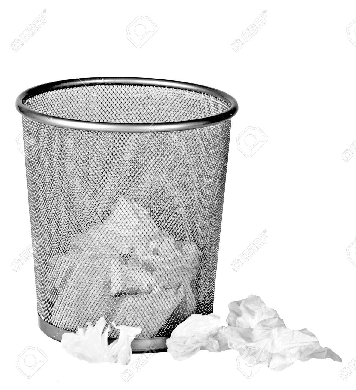 Wire Metal Bin With Paper Tissues On White Background Stock Photo ...