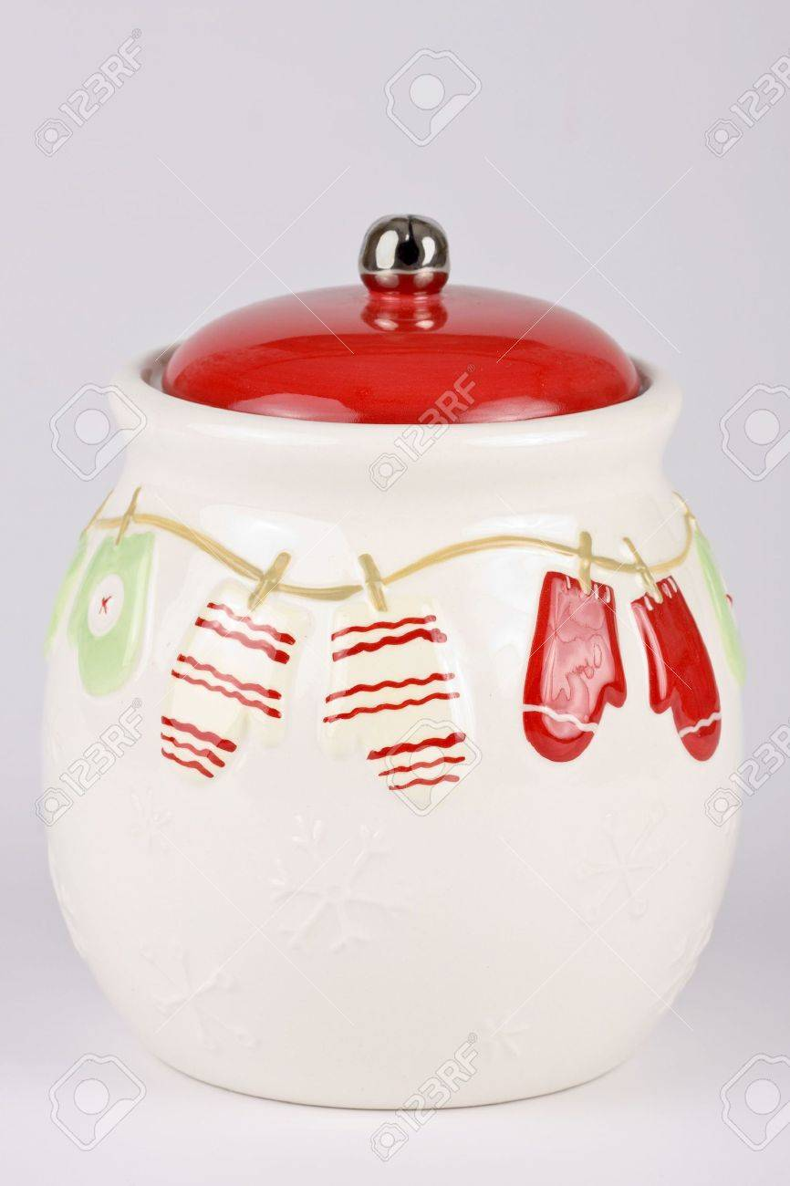 Christmas Cookie Jar Isolated On A Light Background Stock Photo