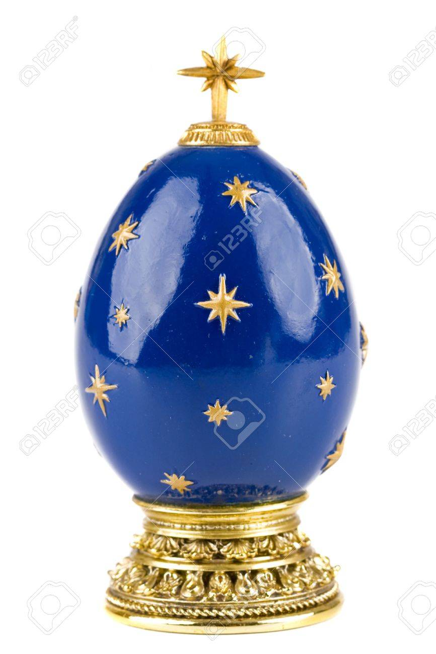 Hand Painted Christmas Egg Shaped Ornament Stock Photo Picture And