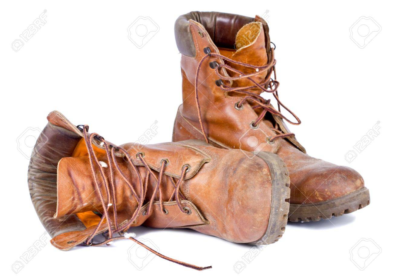 Old Worn Pair Of Leather Walking Boots