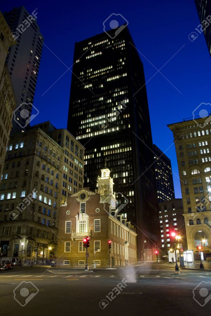 Old historical State House public building surrounded by skyscrapers Stock Photo - 4890502