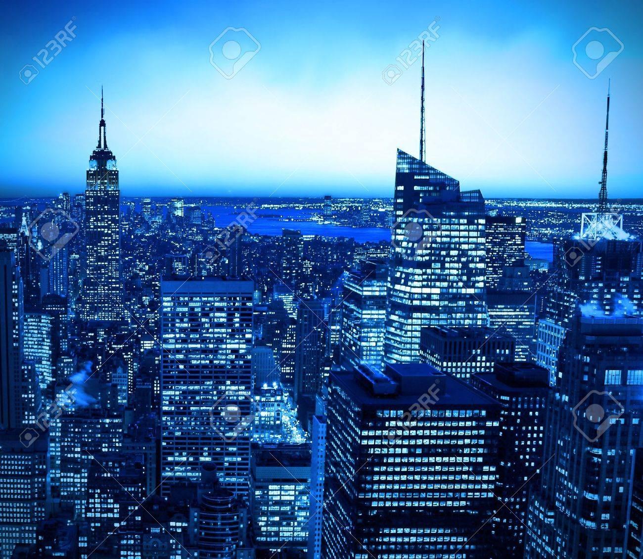 New York City skyline at night with blue hue Stock Photo - 6199191