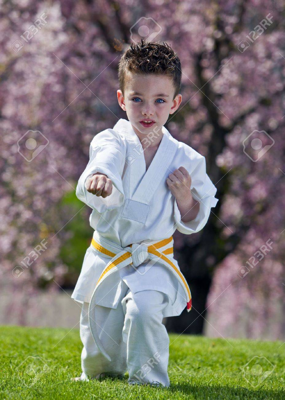 Young boy practicing martial arts outside in spring Stock Photo - 9601906