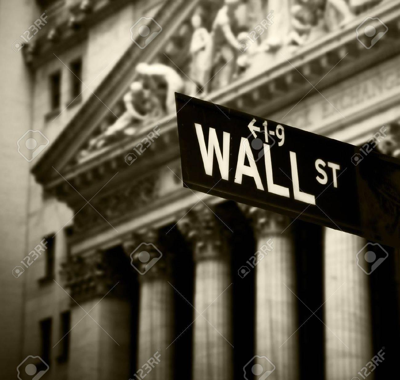 Wall Street sign in lower Manhattan New York Stock Photo - 12368405