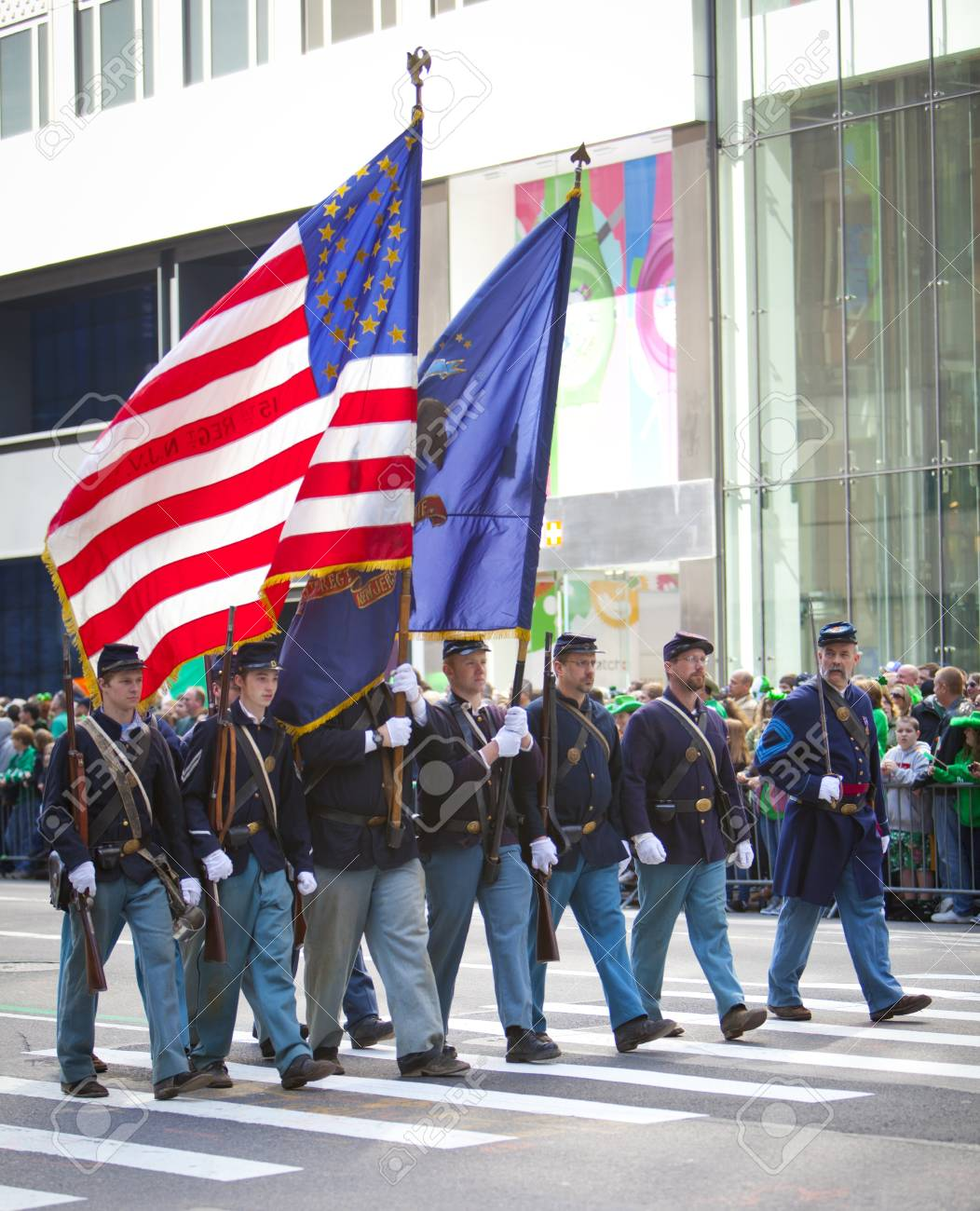 NEW YORK, NY, USA MAR 17: Marching US miltary soldiers at the St. Patrick's Day Parade on March 17, 2012 in New York City, United States. Stock Photo - 13062605