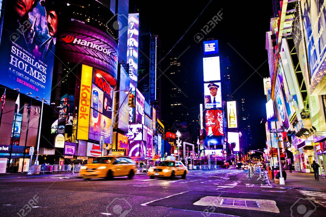 NEW YORK CITY - DEC 28: Times Square ,is a busy tourist intersection of neon art and commerce and is an iconic street of New York City and America, December 28th, 2011 in Manhattan, New York City. Stock Photo - 15791893