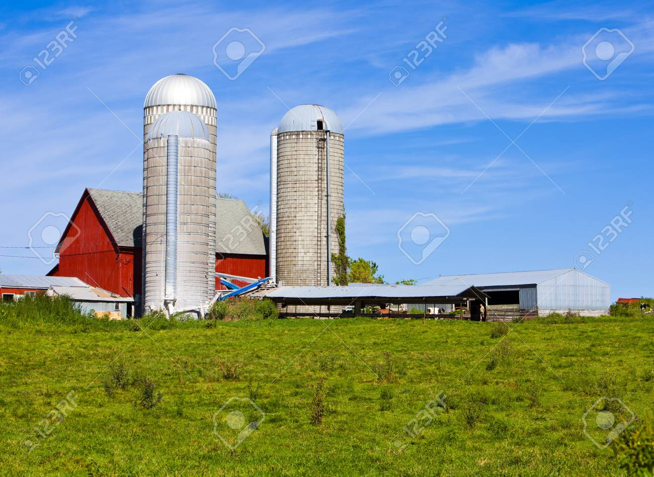 American Country Farm With Blue Sky Stock Photo - 15802890