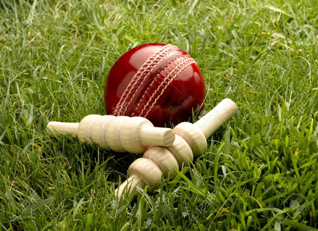 Red Leather Cricket Ball with Bailes - 34046770