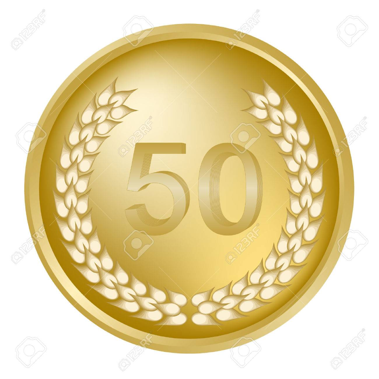 50th annivesary medallion and gold wreath Stock Vector - 3654001