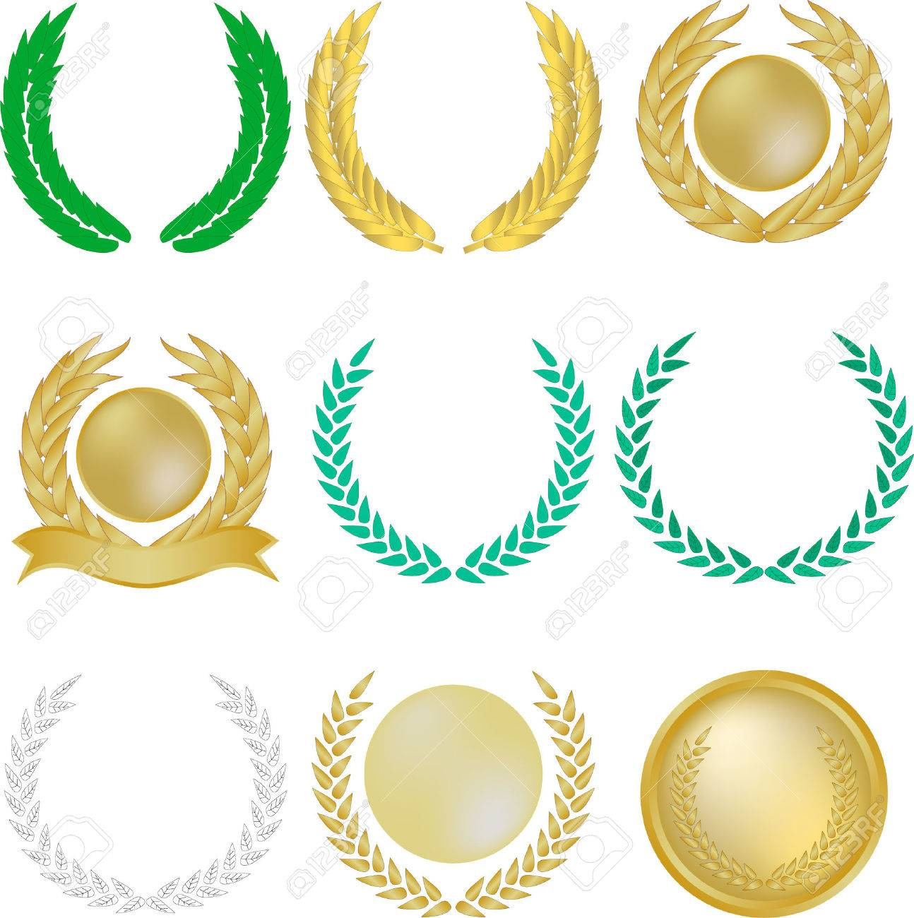 Set of nine laurel wreaths and banners Stock Vector - 3842021