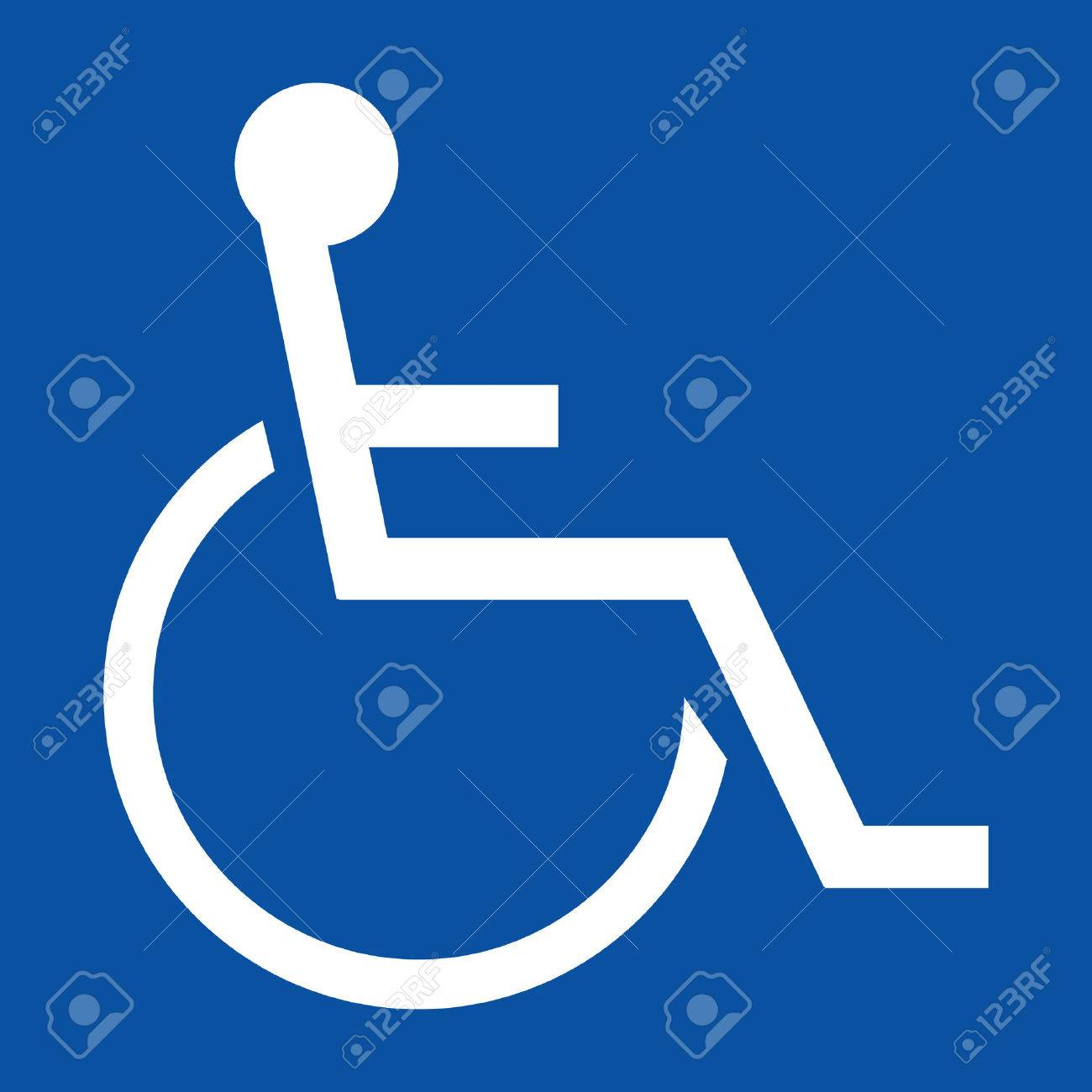 Sign indicating a handicapped person in white on a blue background Stock Vector - 4495707