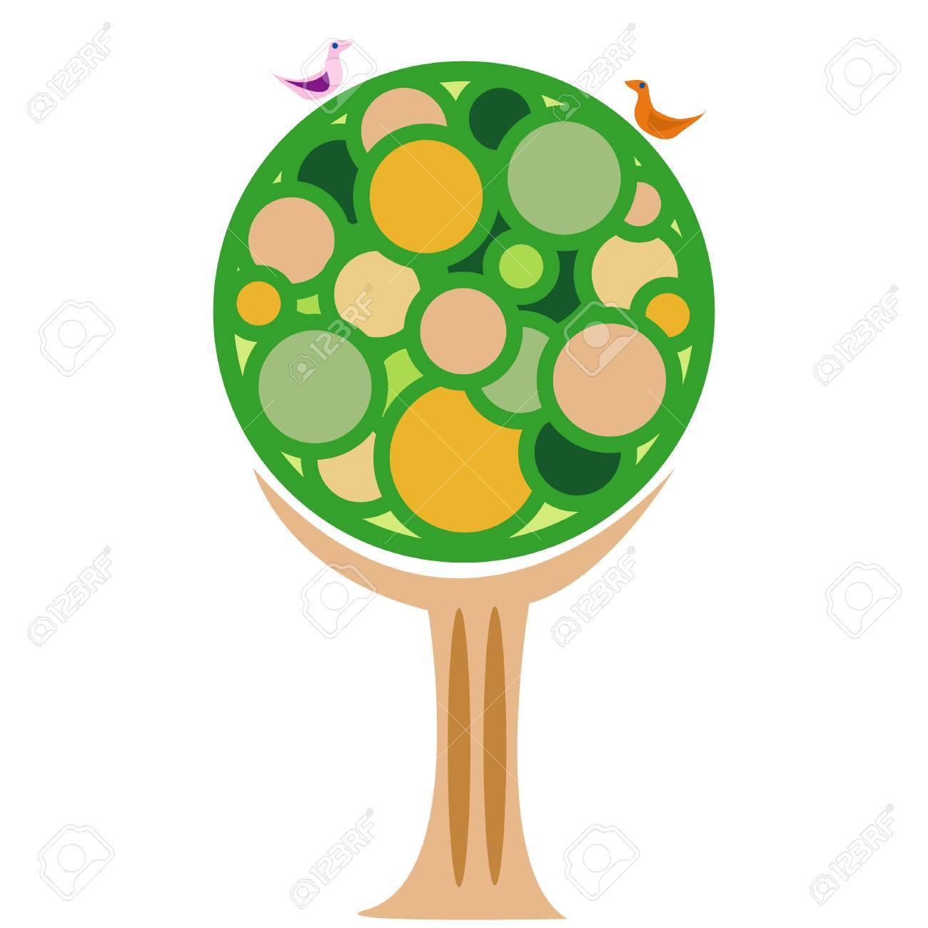 Modern style vector image of a tree and two birds Stock Vector - 4949111