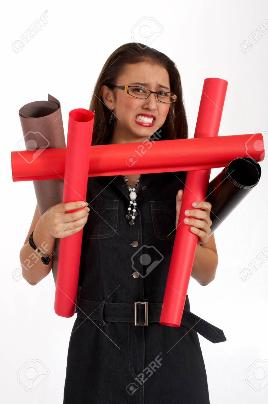 frustrated young secretary carrying lots of plans Stock Photo - 2615486