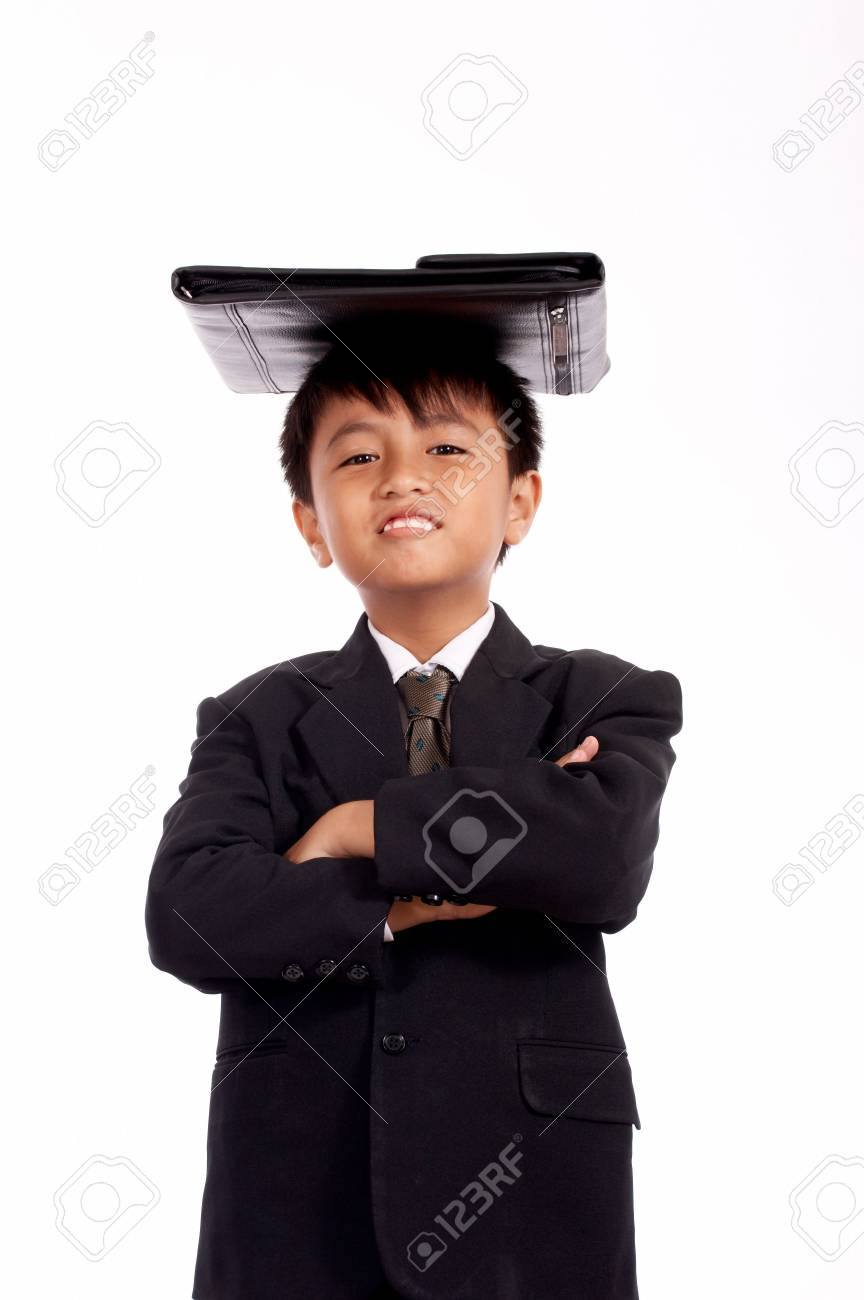 successful young employee with bag on top of his head Stock Photo - 2615277