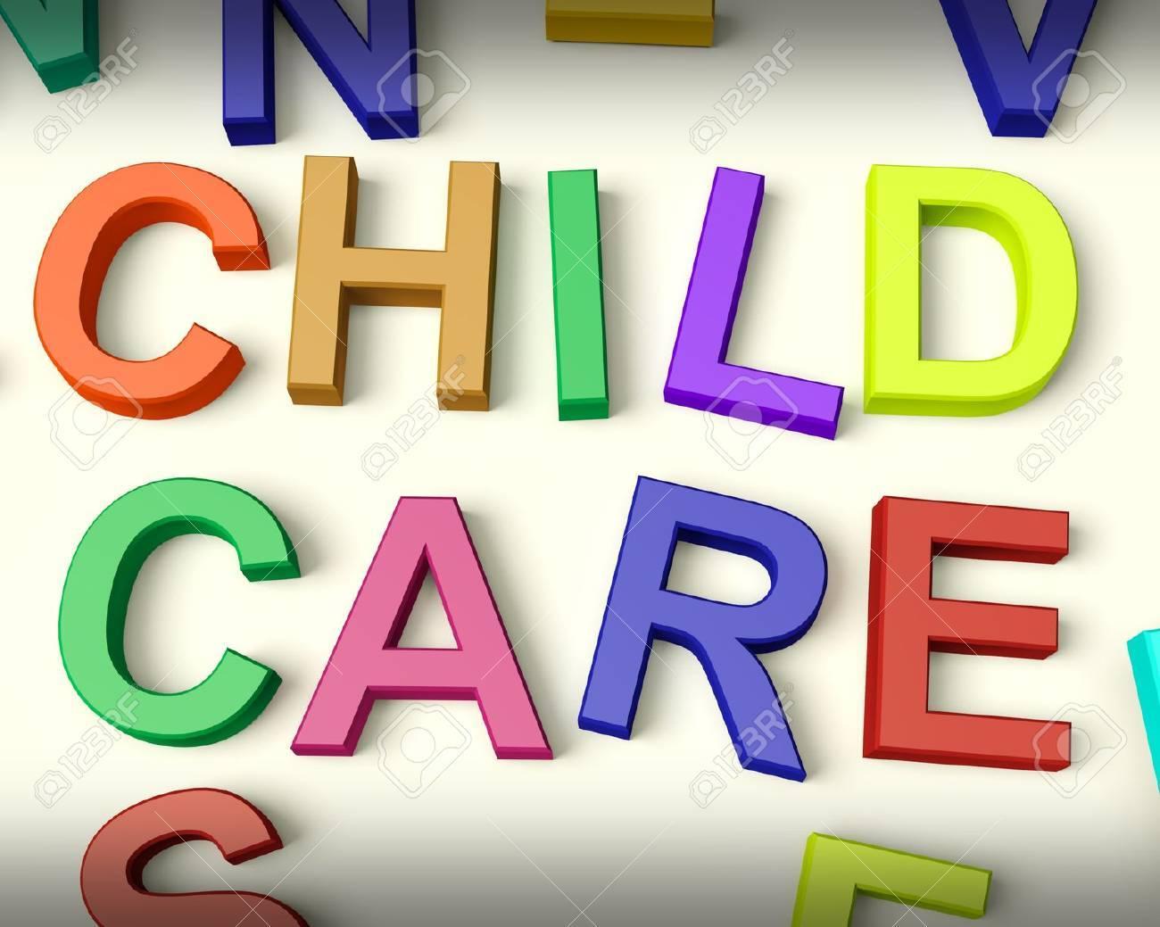Child Care Written In Multicolored Plastic Kids Letters - 11725519