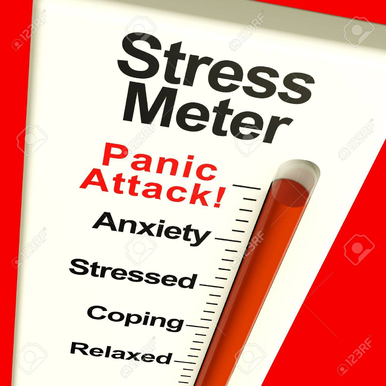 Stress Meter Showing Panic Attack From Stress And Worry - 11947983