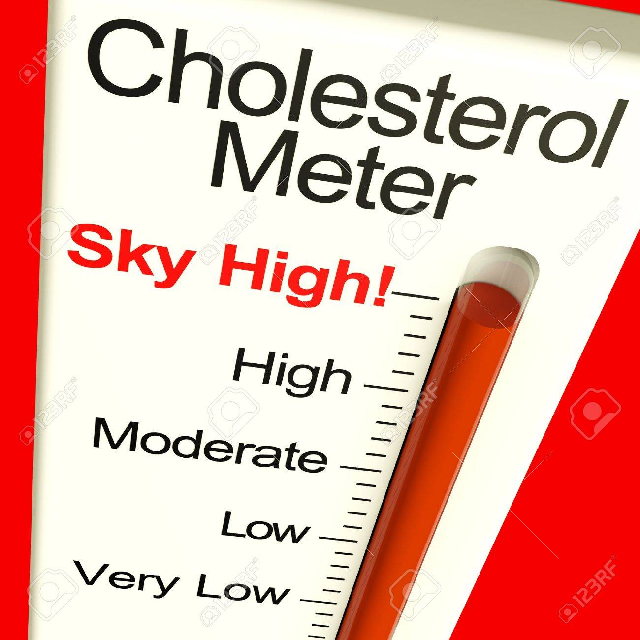Cholesterol Meter High Showing Unhealthy Fatty Diets Stock Photo - 11947994