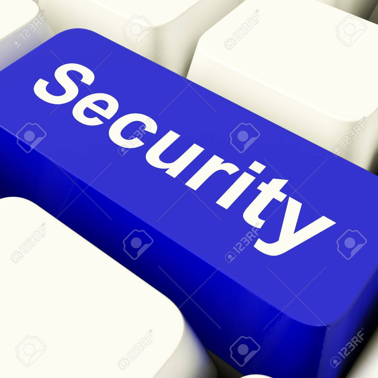 Security Computer Key In Blue Showing Privacy And Online Safety Stock Photo - 11947646