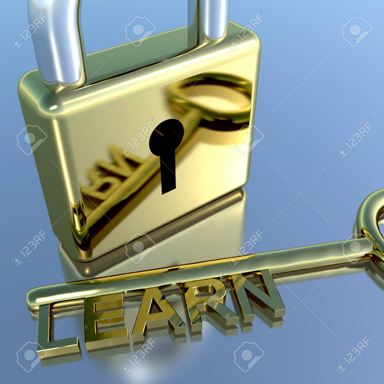 Padlock With Learn Key Showing Education Learning Or Courses Stock Photo - 11948212