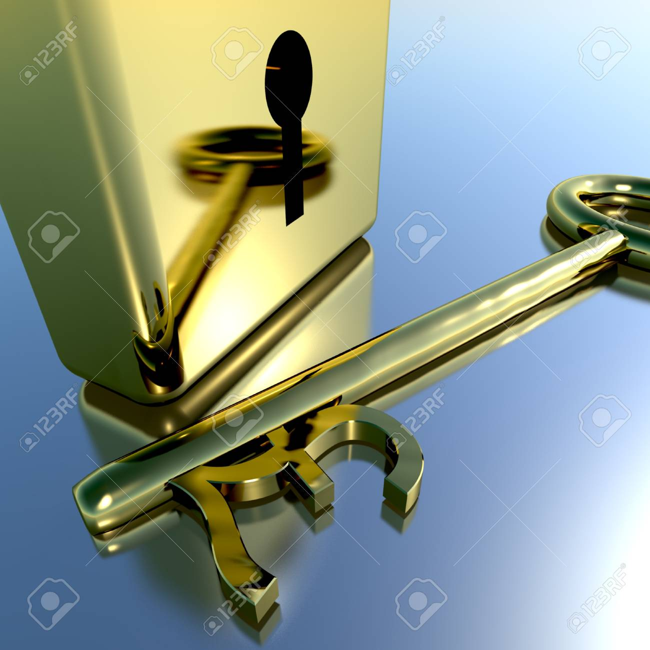 Pound Key With Gold Padlock Showing Banking Savings And Finances Stock Photo - 11948214