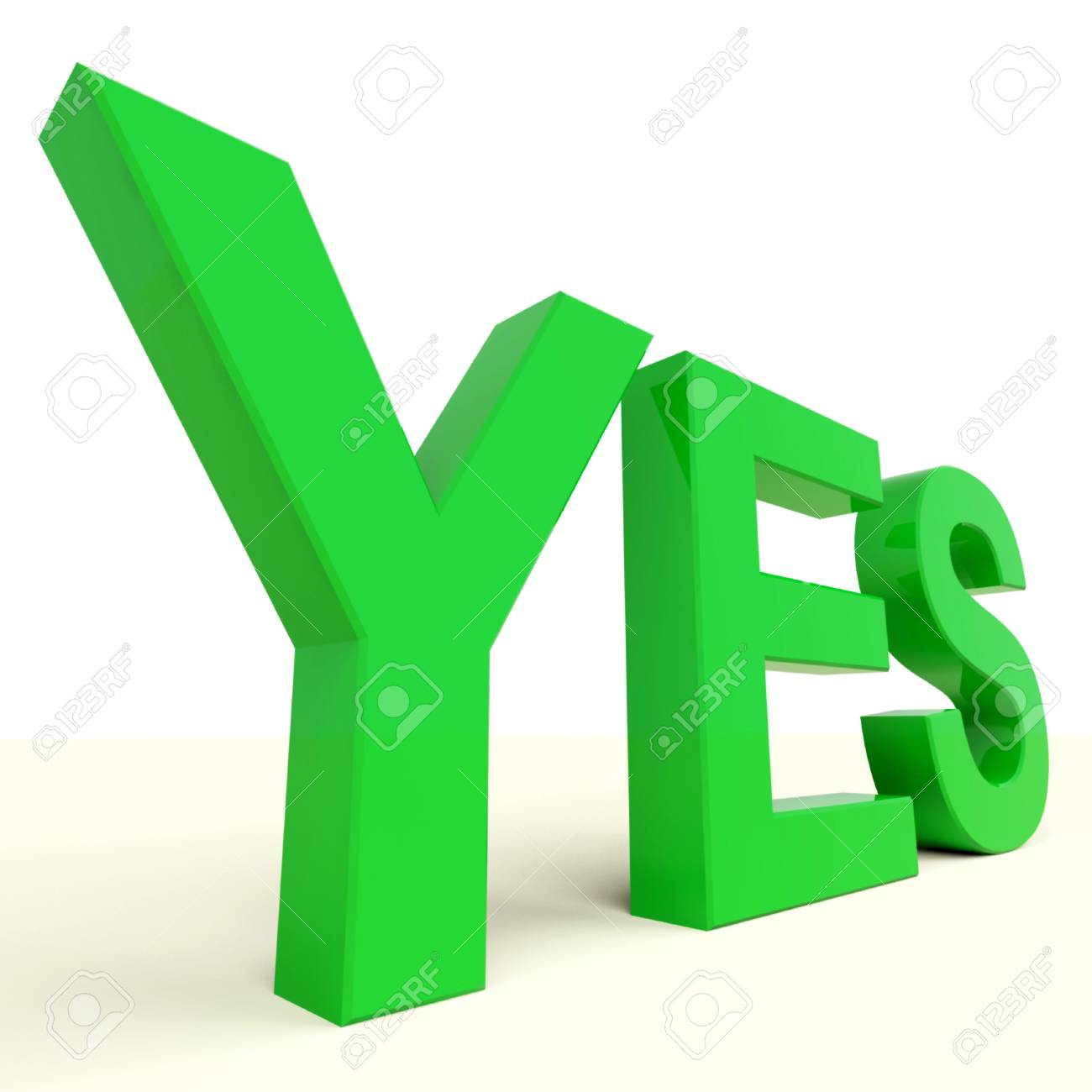Yes Green Word On Table Showing Approval And Support Stock Photo - 12637002