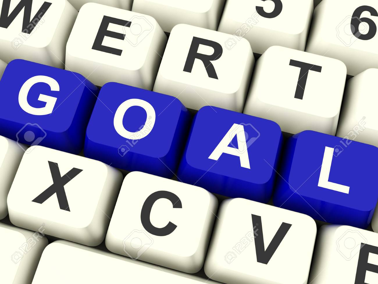 Goals Computer Keys Showing Objectives Hopes And Future Stock Photo - 12637484