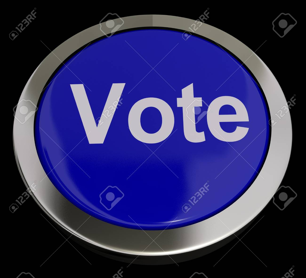 Vote Button In Blue Showing Options Or Choice Stock Photo - 13480723