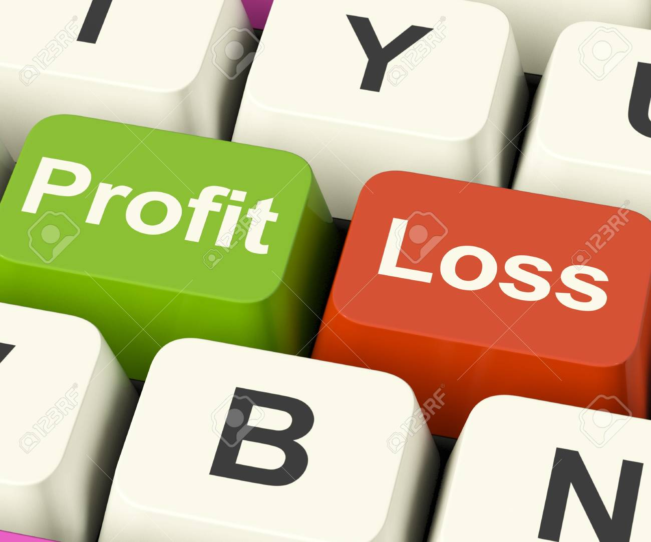profit or loss keys showing returns for internet businesses stock
