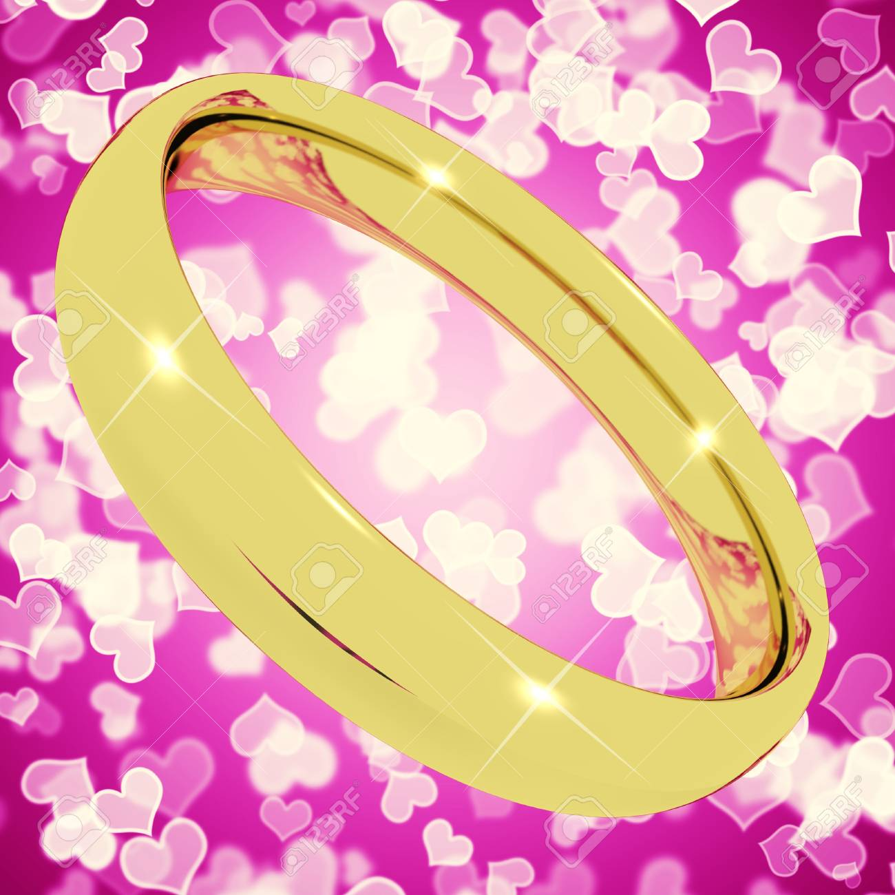 Gold Ring On Pink Heart Bokeh Background Represents Love Valentine ...