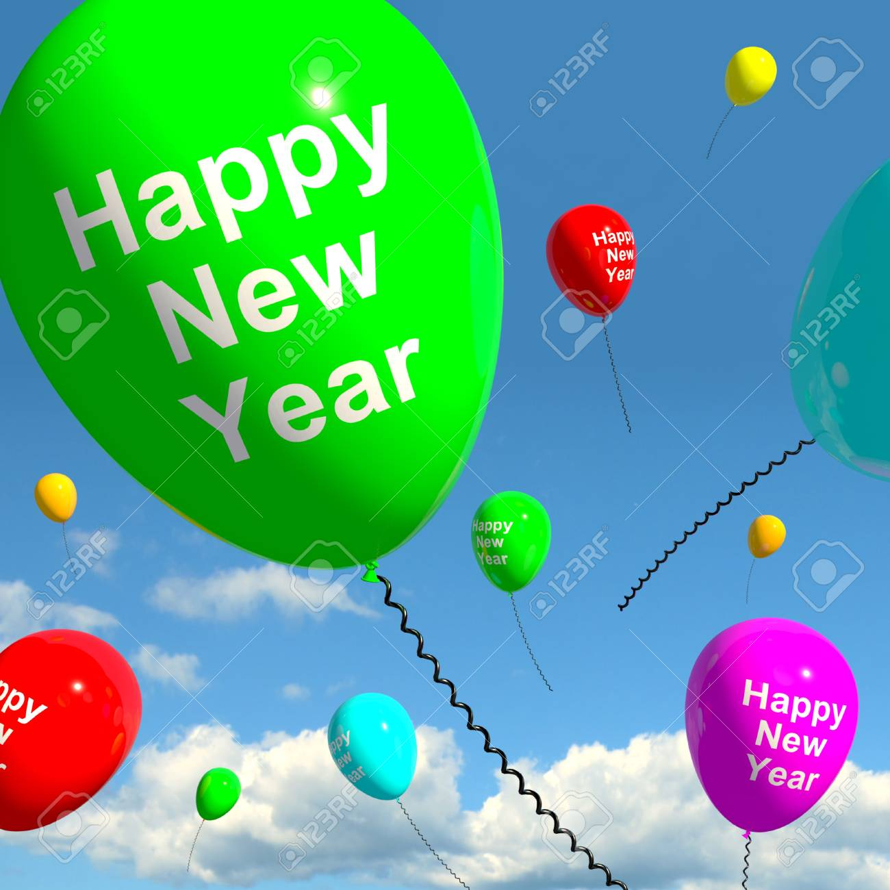 Balloons In The Sky Show Happy New Year Stock Photo - 13481310