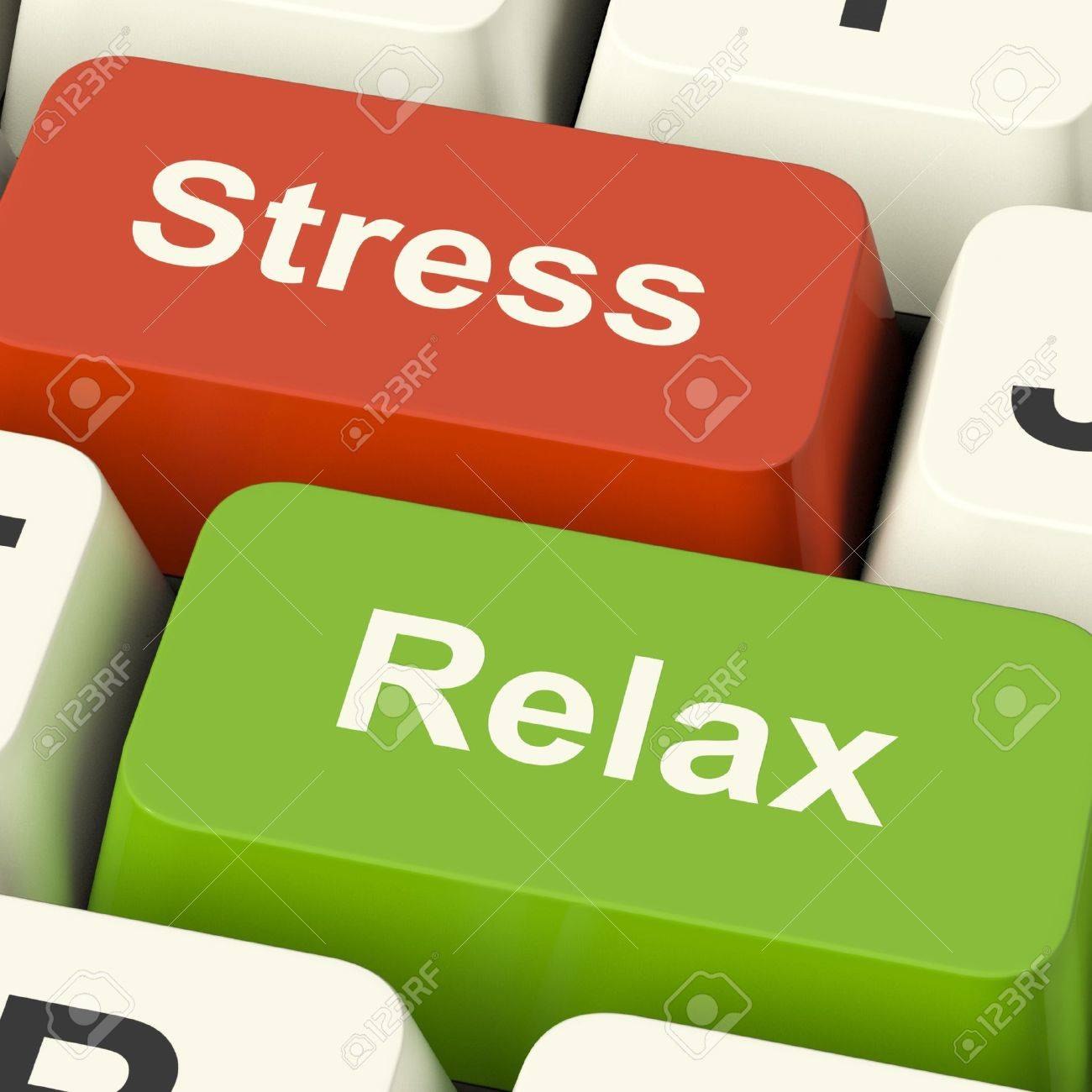 Stress Relax Computer Keys Shows Pressure Of Work Or Relaxation Online Stock Photo - 13482084