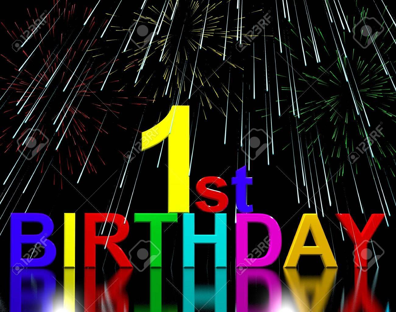 Prima O 1 Compleanno Festeggiato Con Fuochi Dartificio Di