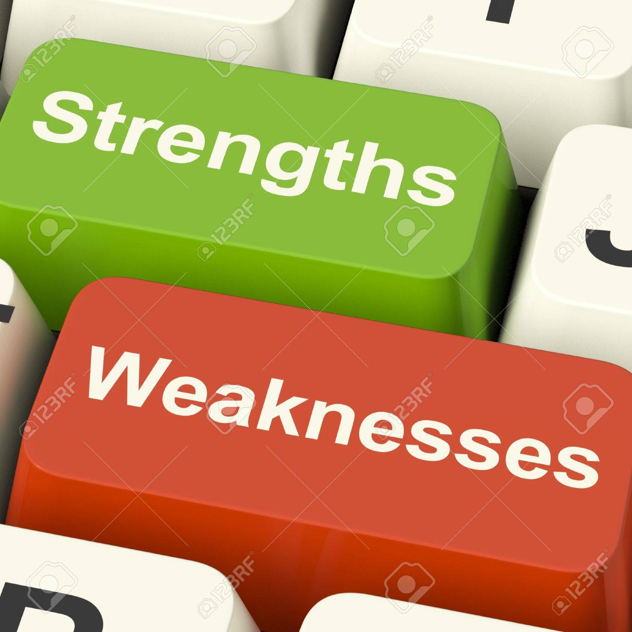 strengths and weaknesses computer keys shows performance or stock photo strengths and weaknesses computer keys shows performance or analyzing