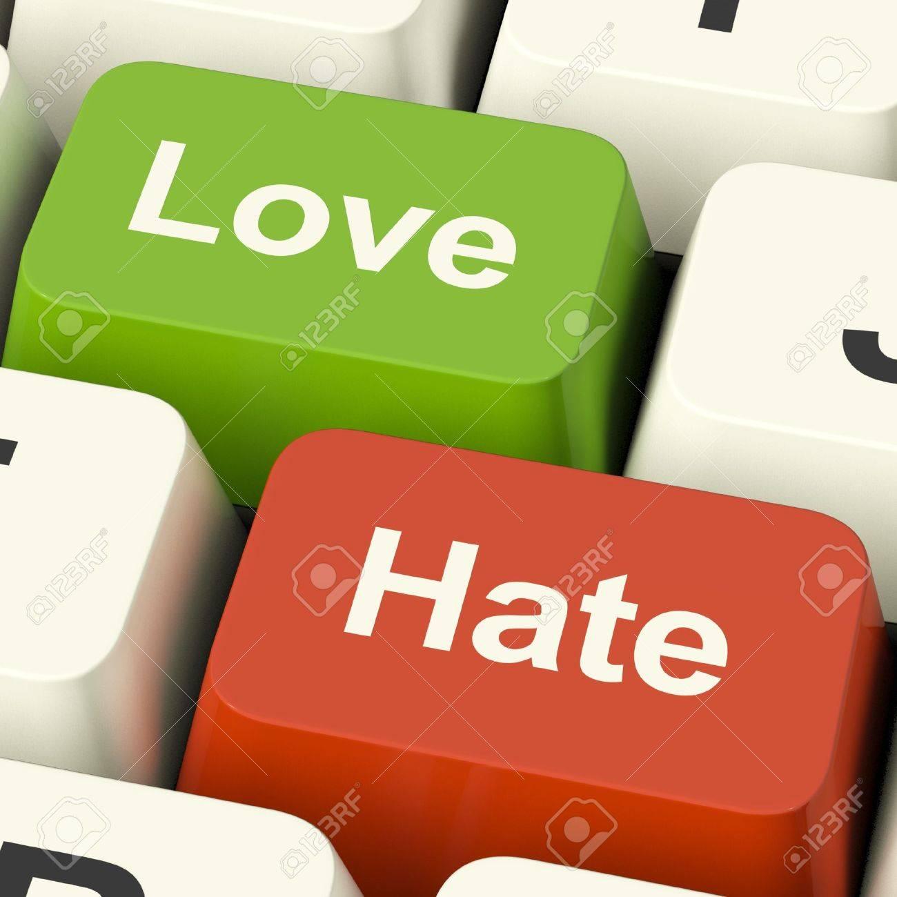 love hate computer keys shows emotion anger and conflict stock love hate computer keys shows emotion anger and conflict stock photo 13481322