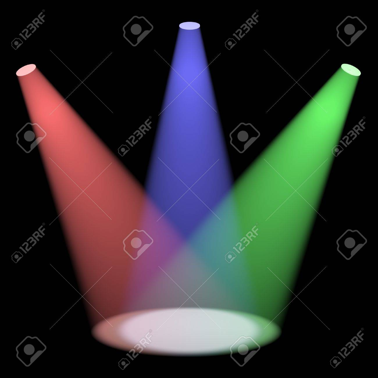 Multicolored Spotlights Shining On A Small Stage With Black Background Stock Photo - 13480355