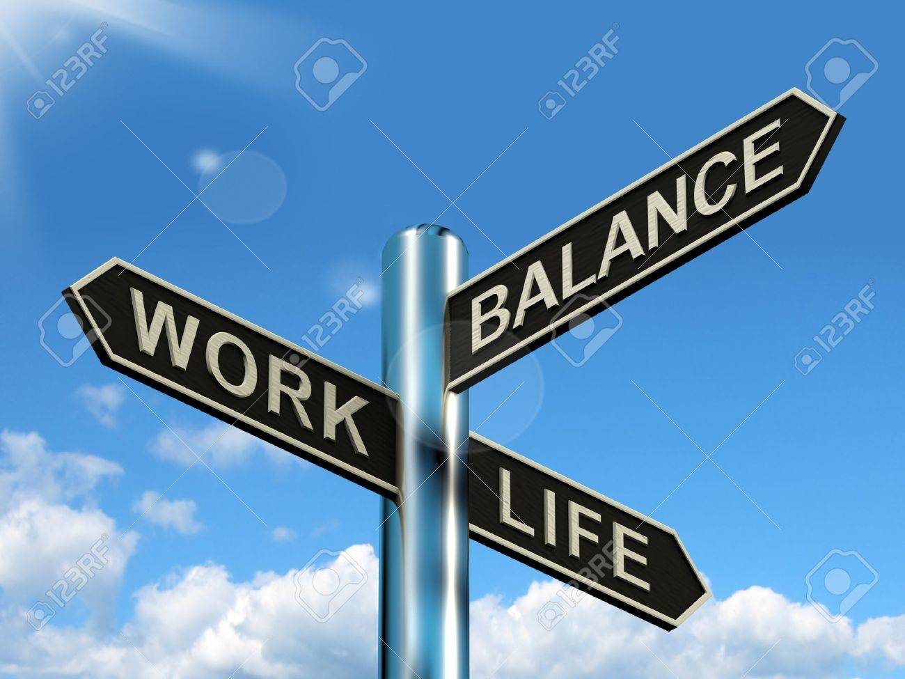 work life balance signpost shows career and leisure harmony stock stock photo work life balance signpost shows career and leisure harmony