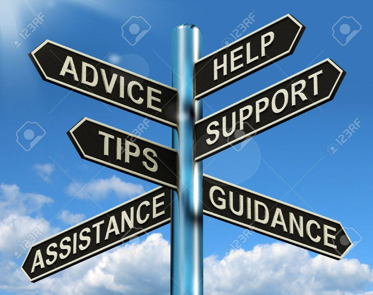 Advice Help Support And Tips Signpost Shows Information And Guidance - 13564616