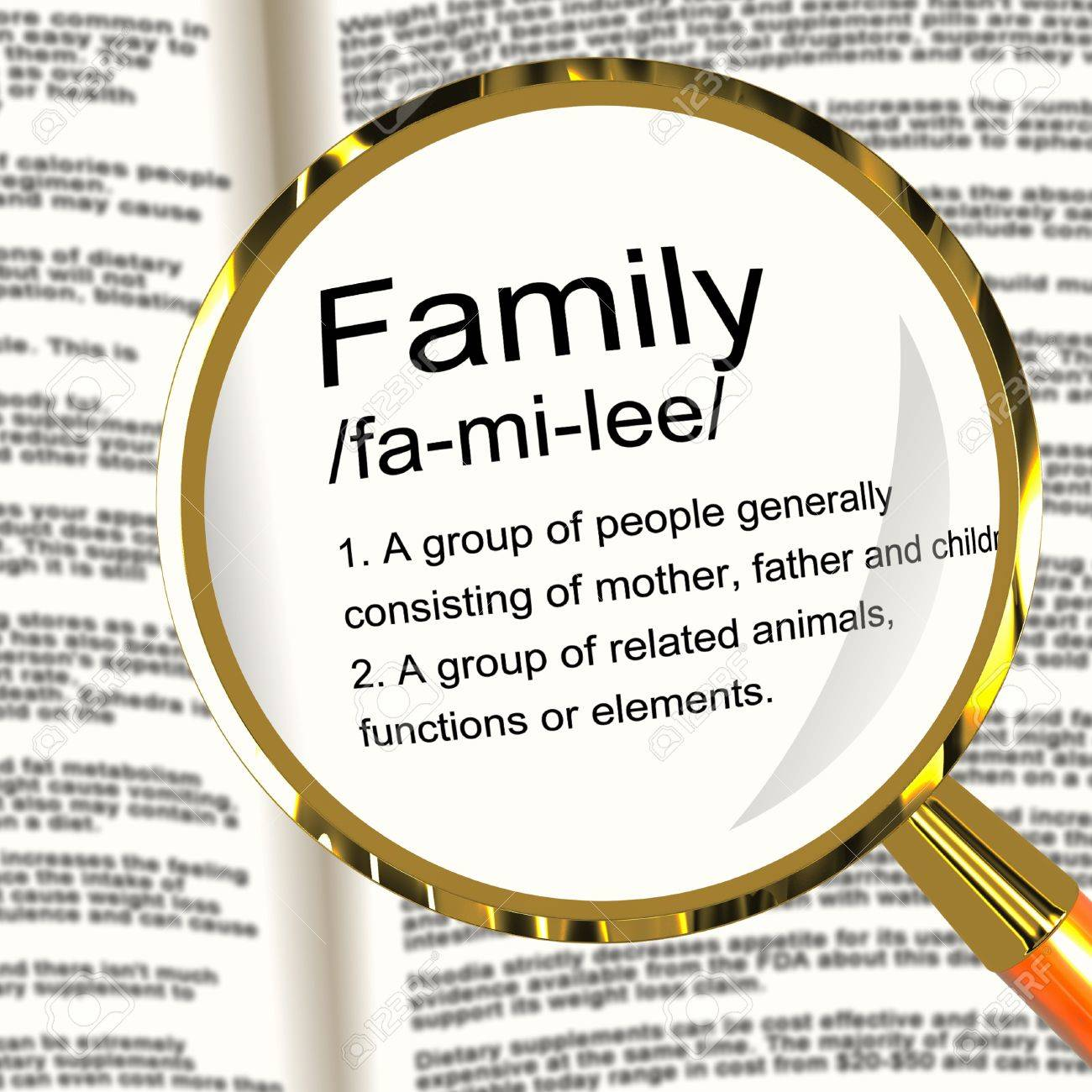 Family Definition Magnifier Shows Mom Dad And Kids Unity Stock Photo - 13564508