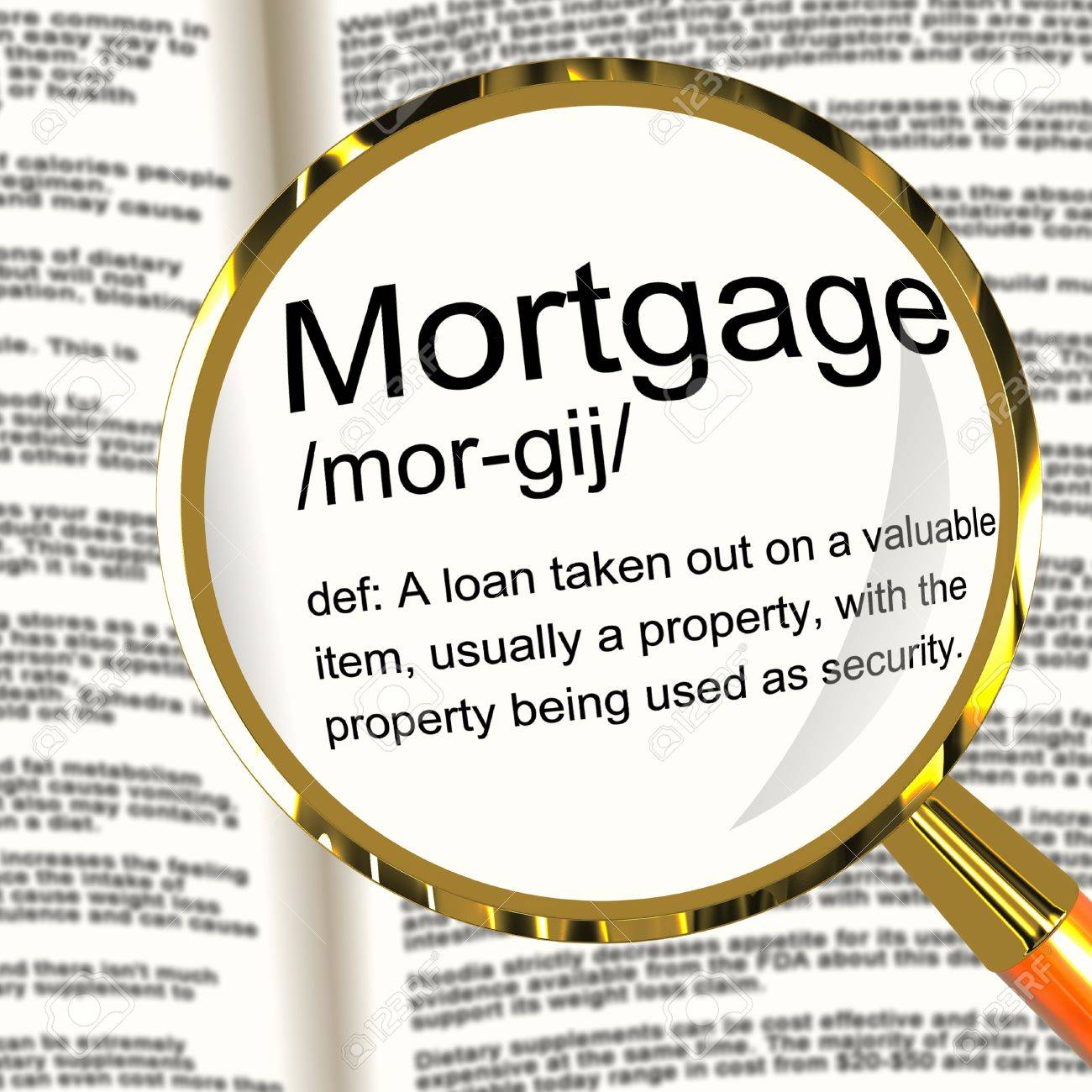 Mortgage Definition Magnifier Shows Property Or Real Estate Loan Stock Photo - 13564526