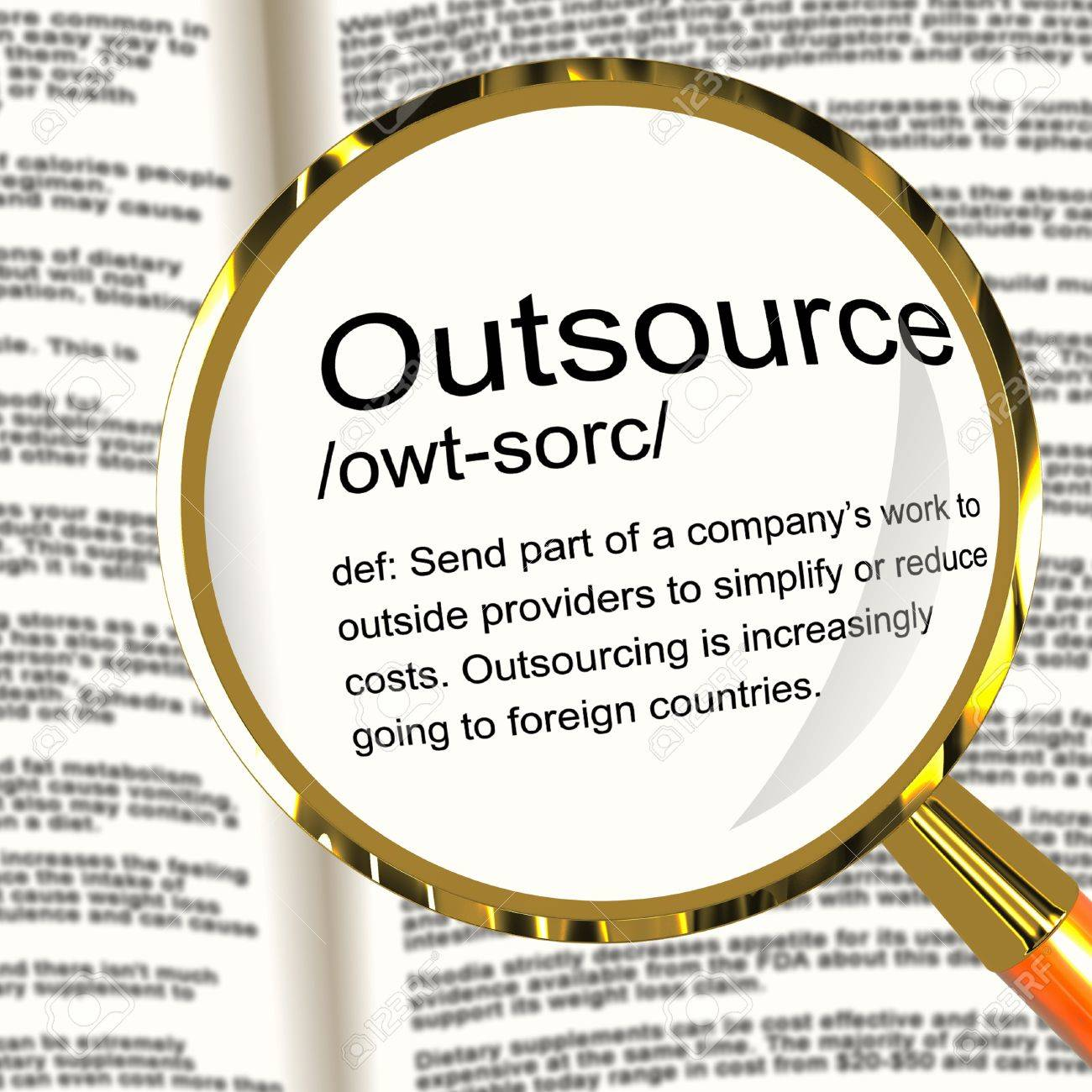 outsource definition magnifier shows subcontracting suppliers