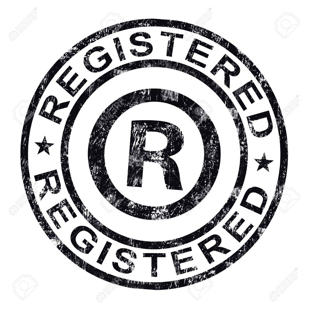 registered stamp showing copyright or trademark stock photo