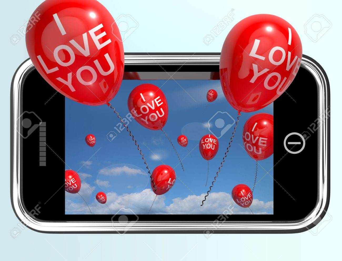 I Love You Red Balloons From A Mobile Smartphone Stock Photo - 14562506