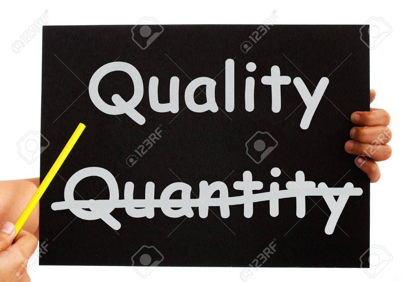 Pointing To Quality Not Quantity Words On Board Stock Photo ...