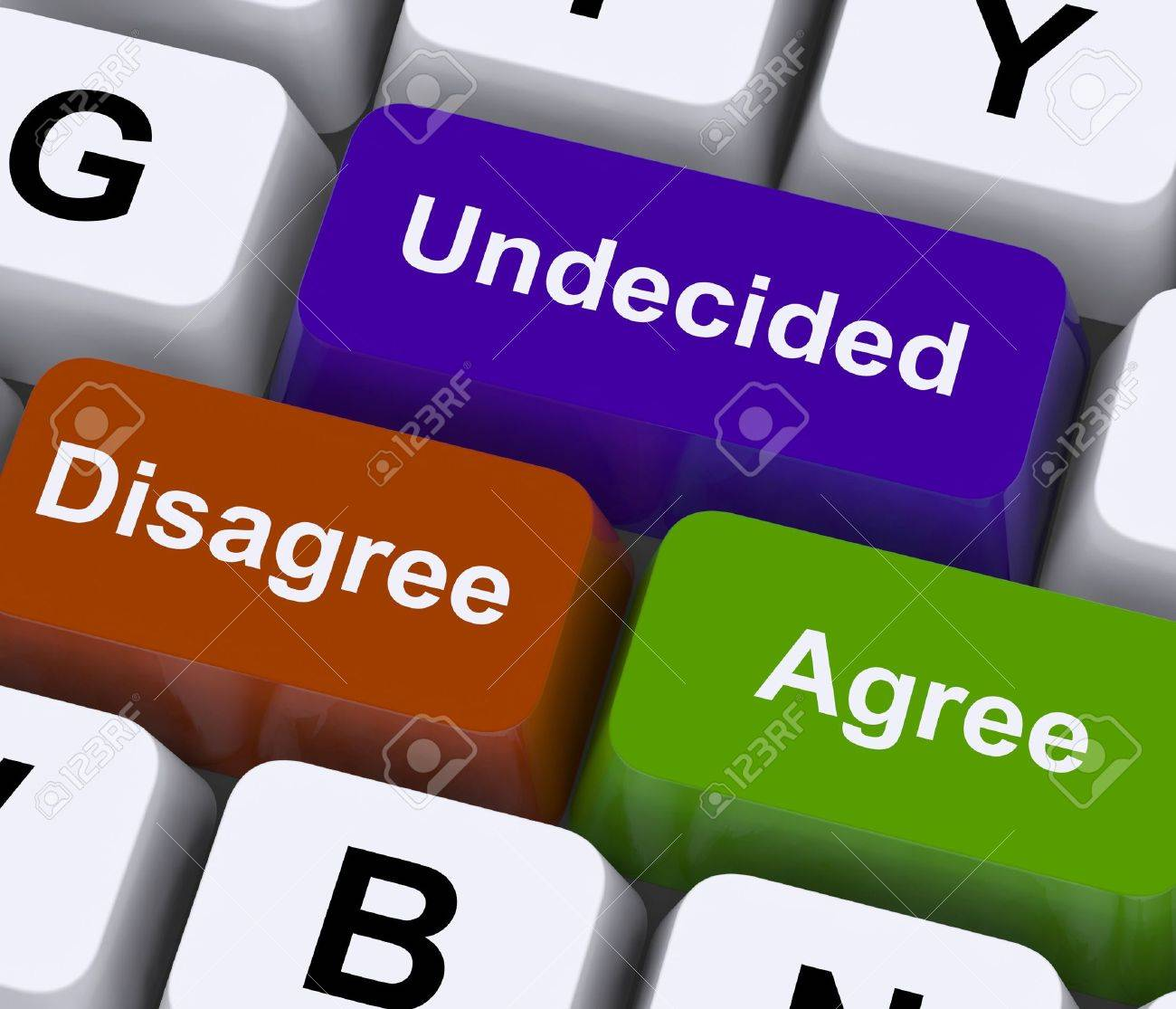 Disagree Agree Undecided Keys For Online Poll Or Voting Stock Photo - 14562630