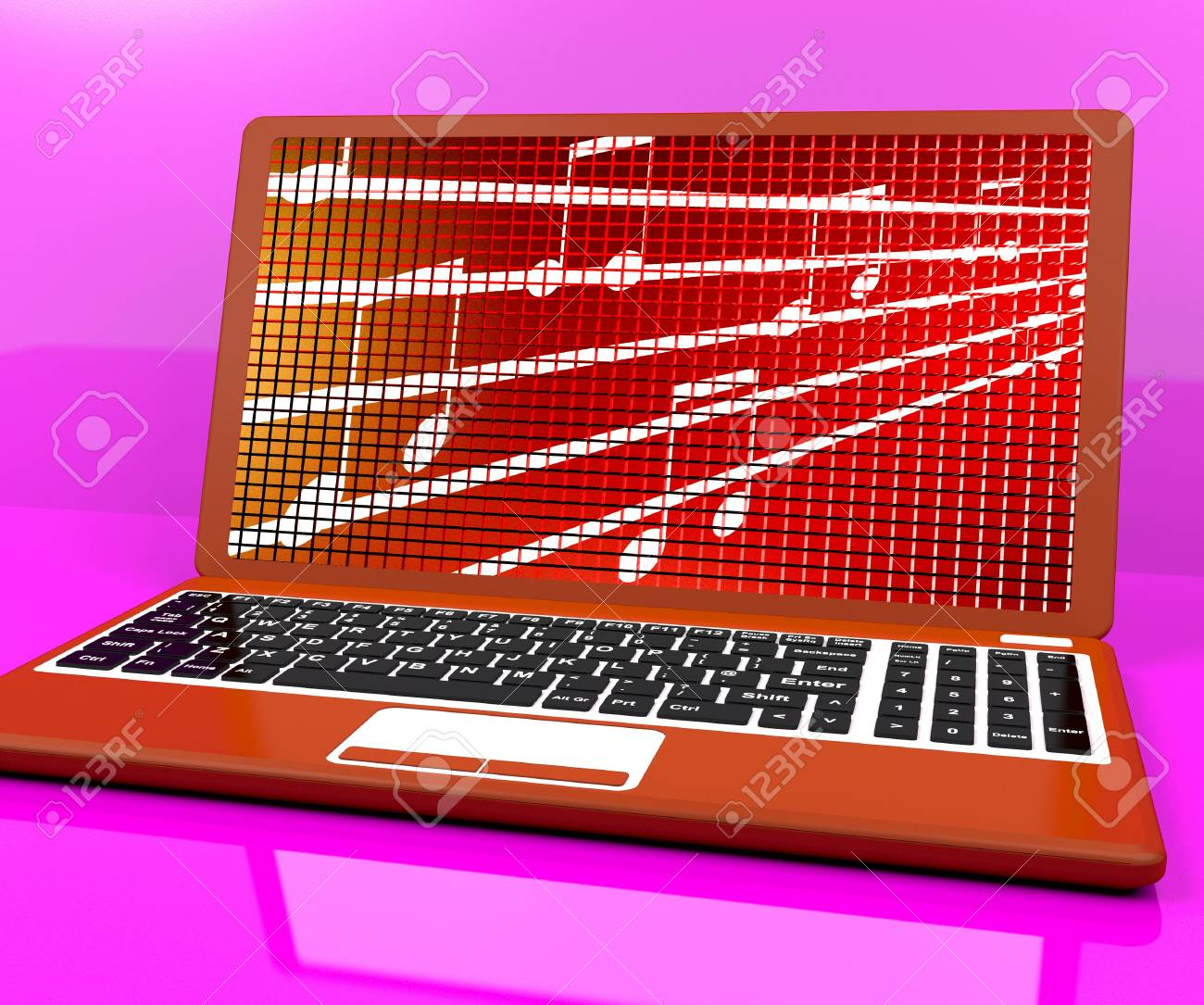 Music Symbols On Laptop Showing Online Radio Stock Photo Picture